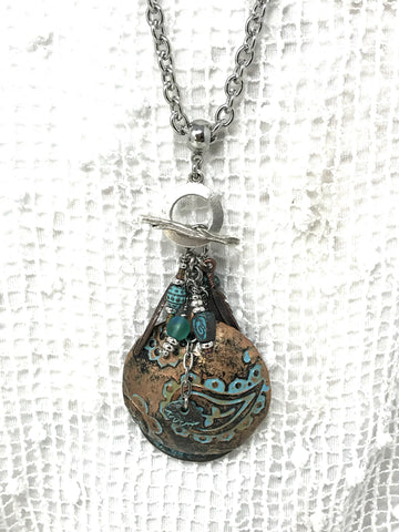 Lampwork Glass & Etched Crystal Beaded Pendant Necklace #1232D