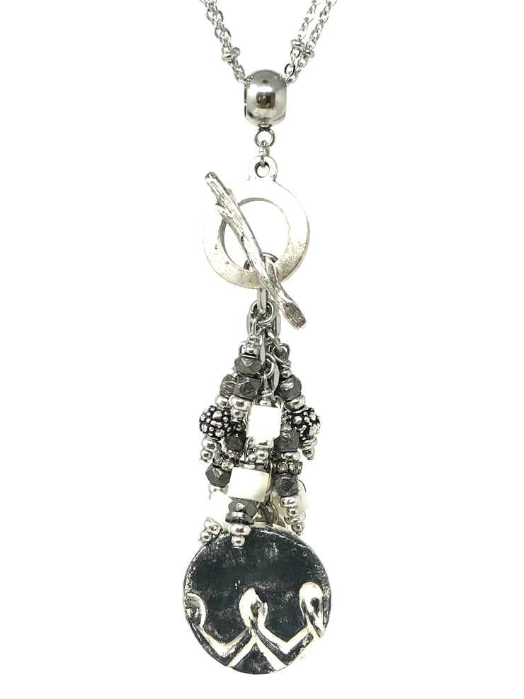 Boho Black and White Ceramic Dangle Beaded Pendant #1873D - Bead Dangle Design