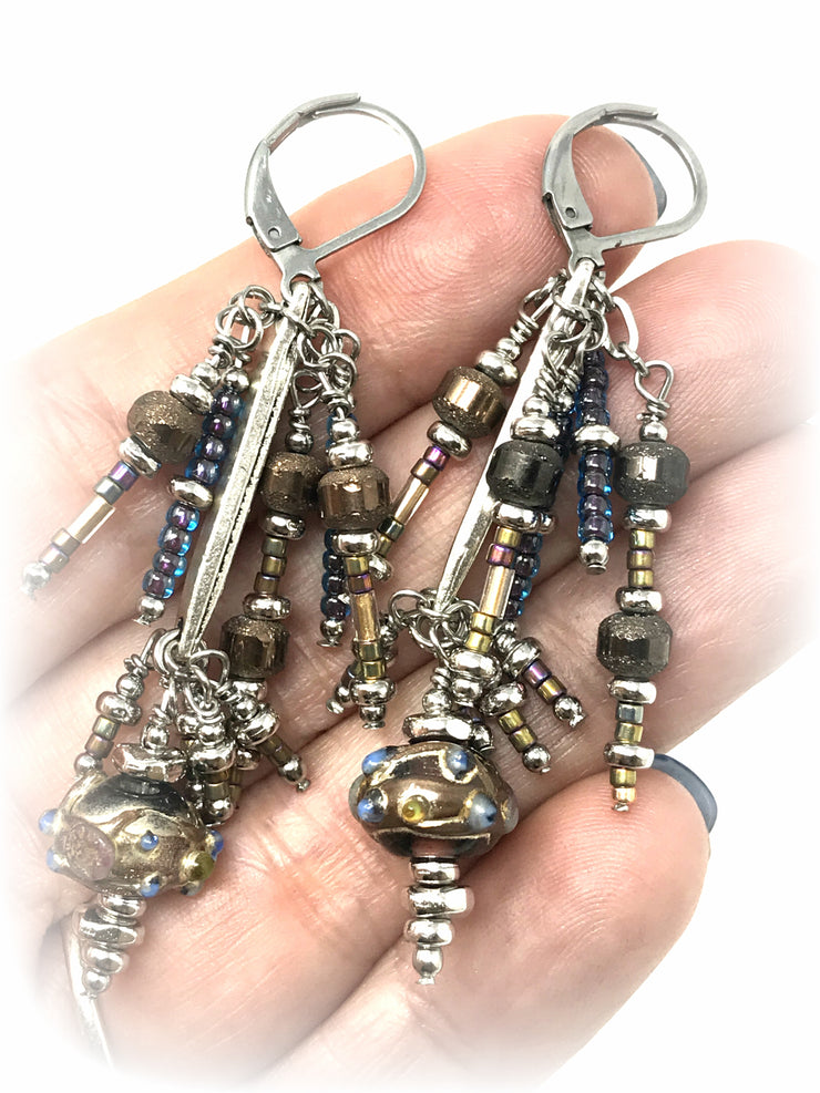 Hand Painted Lampwork Glass Beaded Dangle Earrings #910E - Bead Dangle Design