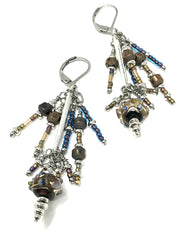 Hand Painted Lampwork Glass Beaded Dangle Earrings #910E