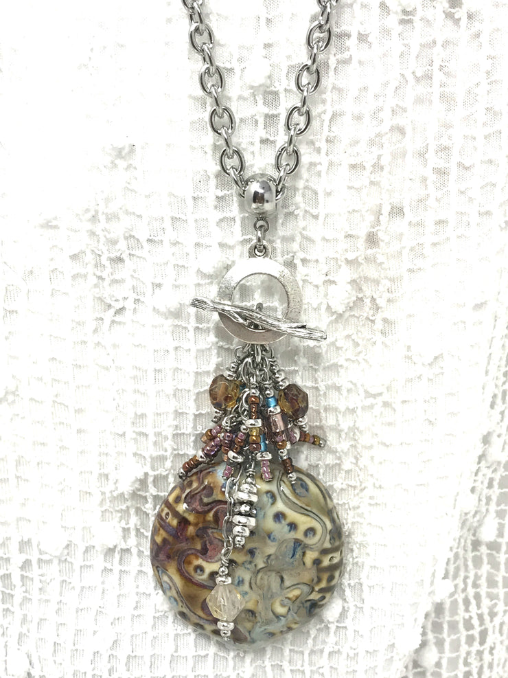 Chunky Porcelain Glass and Seed Bead Dangle Pendant #1877D - Bead Dangle Design