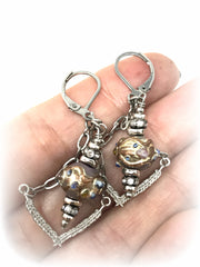 Hand Painted Lampwork Glass Beaded Dangle Earrings #912E - Bead Dangle Design