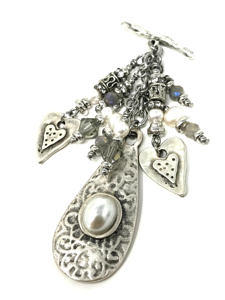 Hammered Pewter Pearl and Heart Interchangeable Beaded Pendant #1891D - Bead Dangle Design