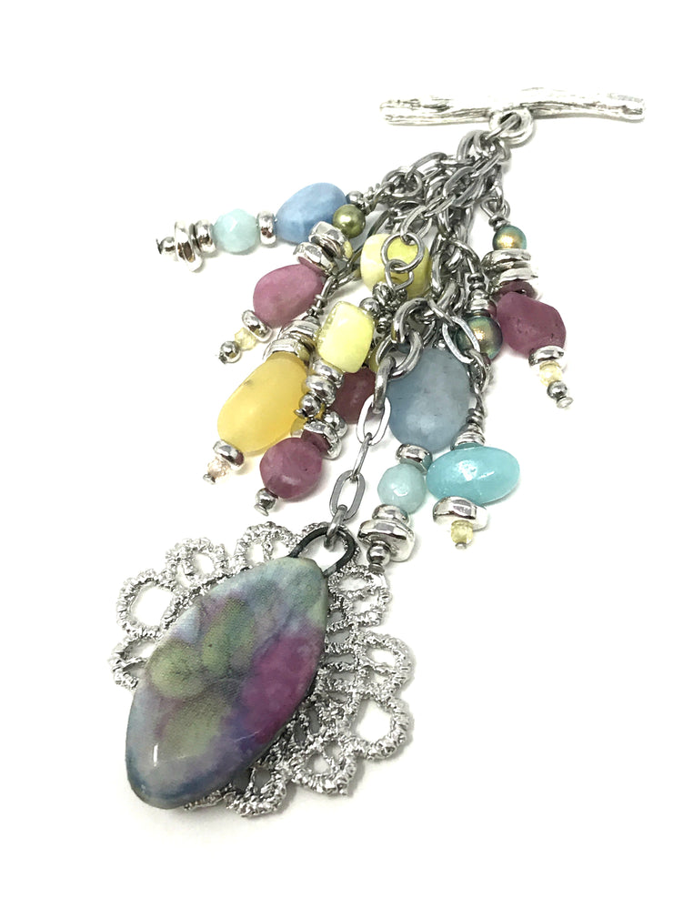 Handcrafted Ceramic Lace Bouquet Beaded Dangle Pendant #1905D - Bead Dangle Design