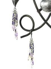Flourite and Seed Bead Beaded Dangle Earrings #919E - Bead Dangle Design
