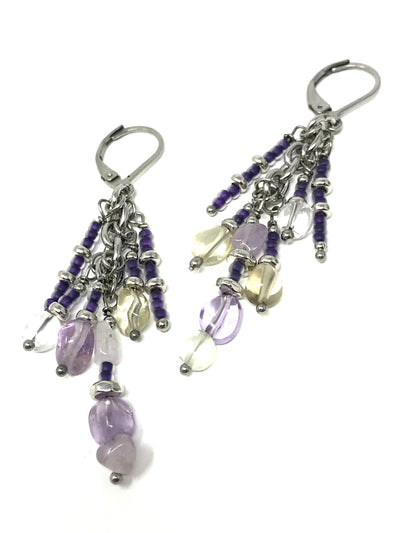 Flourite and Seed Bead Beaded Dangle Earrings #919E