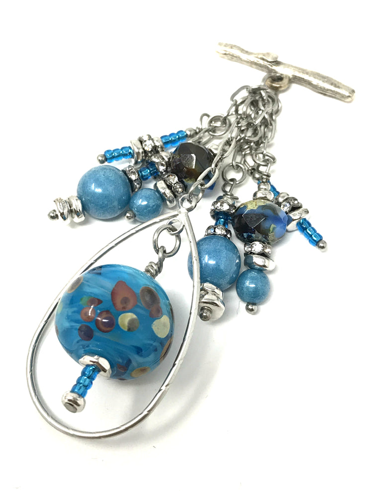 Turquoise Lampwork Glass Beaded Pendant Necklace #1771D - Bead Dangle Design