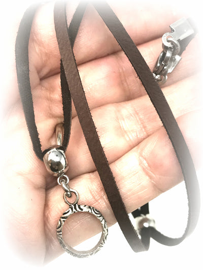Brown Deerskin Leather Necklace #123LTHR - Bead Dangle Design