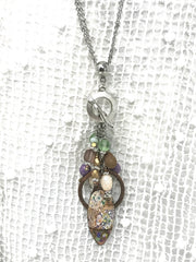 Handmade Painted Copper Enamel Textured Pearl Beaded Dangle Pendant #1941D