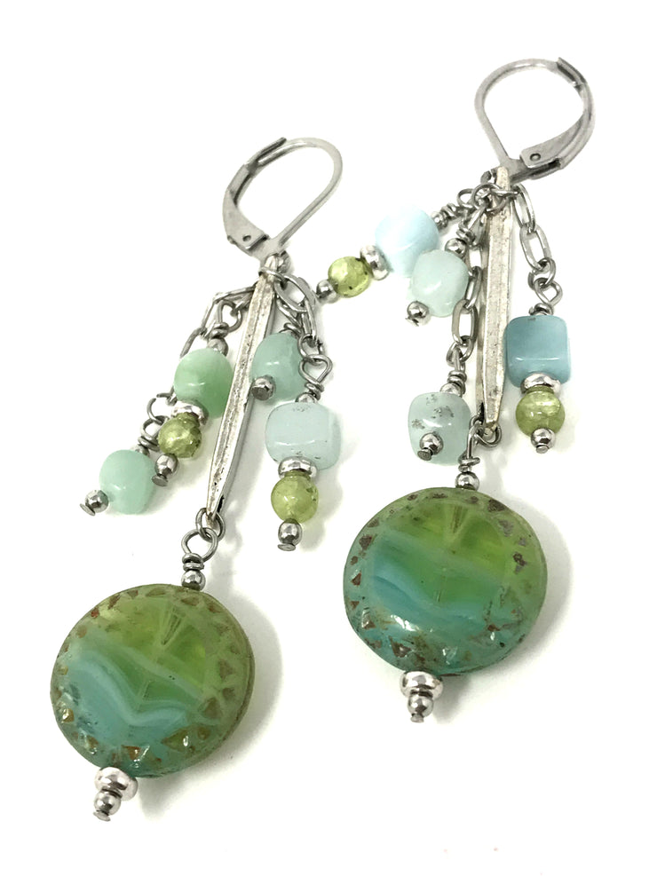Czech Glass and Amazonite Dangle Beaded Earrings #906E