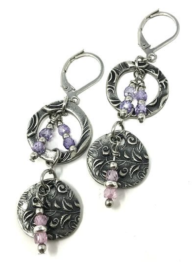 Dolce Vida and Cubic Zirconia Lever Back Earrings #877E - Bead Dangle Design
