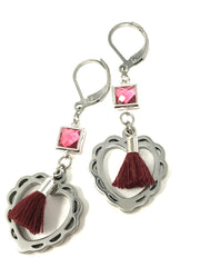 Heart Tassel & Faceted Glass Lever Back Beaded Earrings #887E