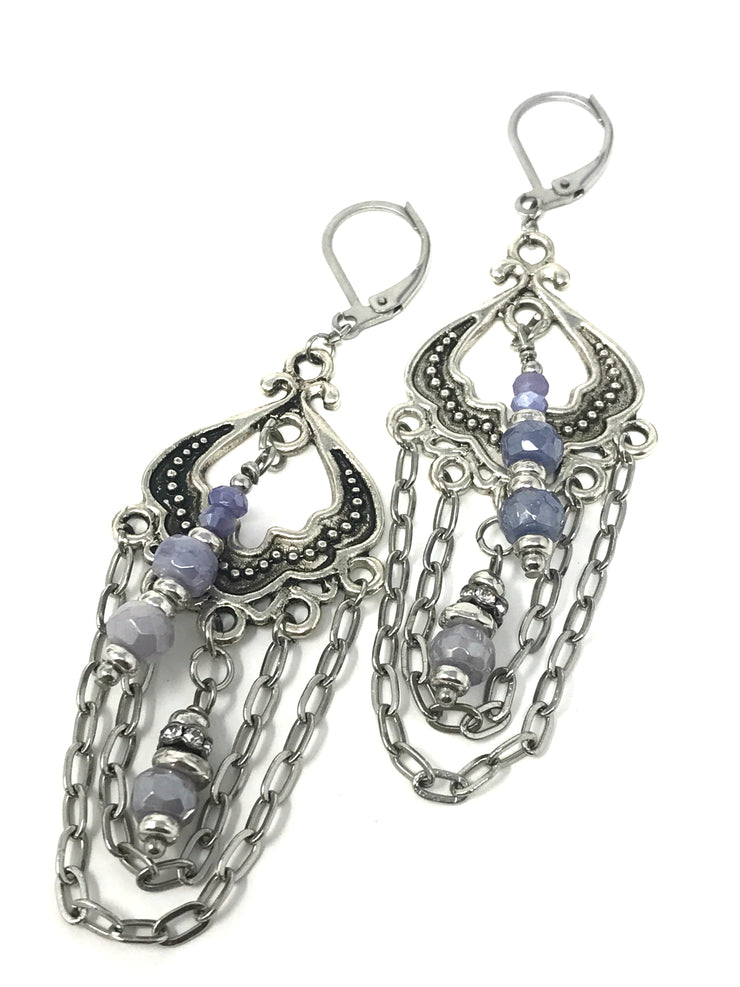 Mystic Moonstone and Cubic Zirconia Lever Back Earrings #876E