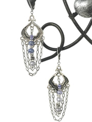 Mystic Moonstone and Cubic Zirconia Lever Back Earrings #876E - Bead Dangle Design