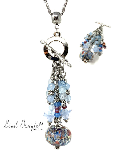 Lampwork Glass and Faceted Aqua Marine Beaded Cluster Dangle Pendant Necklace #2709D - Bead Dangle Design