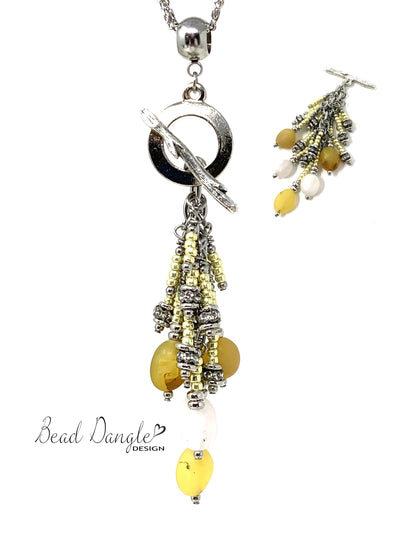 Yellow and White Matte Agate and Shimmer Seed Bead Cluster Dangle Pendant Necklace #2708D - Bead Dangle Design