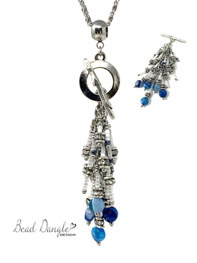 Blue Agate and Shimmer Seed Bead Cluster Dangle Pendant Necklace #2706D - Bead Dangle Design