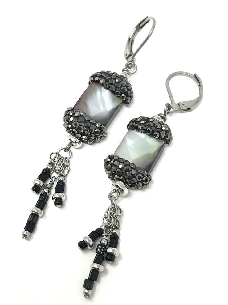 Faceted Druzy Shell Pave' and Seed Bead Dangle Earrings #923E