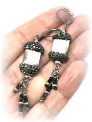 Faceted Druzy Shell Pave' and Seed Bead Dangle Earrings #923E - Bead Dangle Design