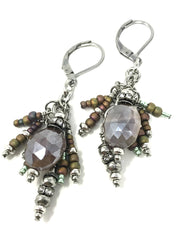 Faceted Mystic Moonstone Matte Seed Bead Dangle Earrings #924E