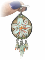 Floral Enamel Painted Copper Beaded Pendant #1964D - Bead Dangle Design