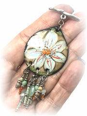 Floral Enamel Painted Copper Beaded Pendant #1964D