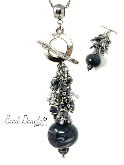 Black and Gray Swirl Lampwork Glass Beaded Cluster Dangle Pendant Necklace #22723D - Bead Dangle Design