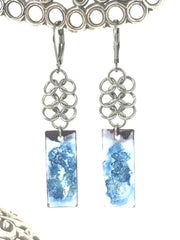 Blue and White Hand Painted Enamel Copper Beaded Earrings #928E
