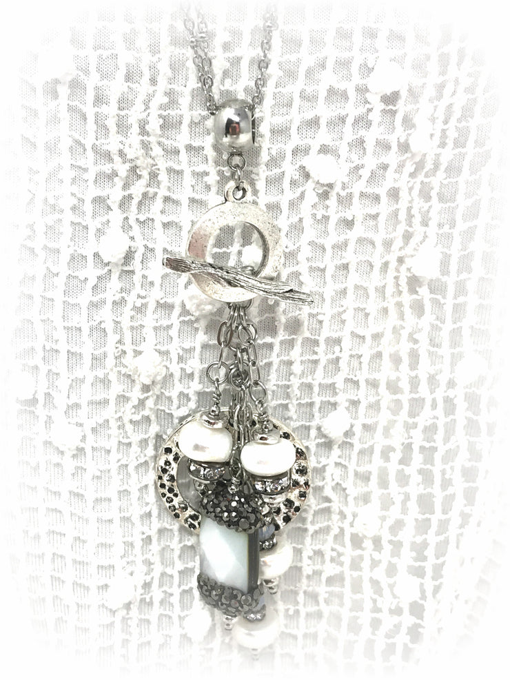 Fresh Water Pearl Pave' Hammered Pewter Beaded Pendant Necklace #2000D