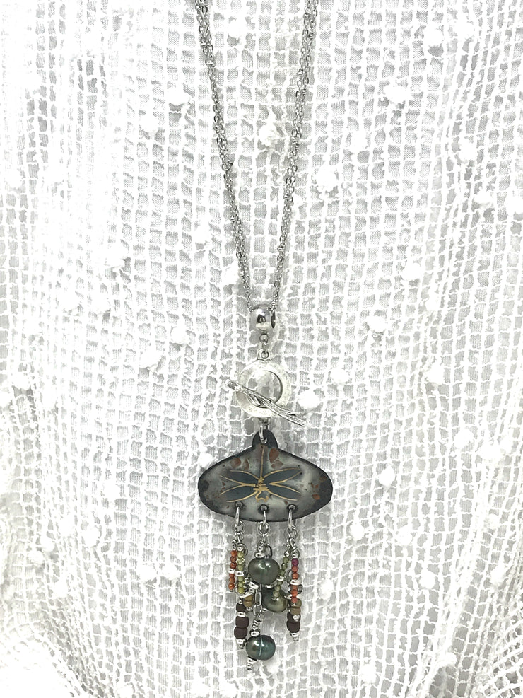 Dragonfly Painted Enamel Beaded Pendant Necklace #2013D