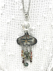 Dragonfly Painted Enamel Beaded Pendant Necklace #2013D - Bead Dangle Design