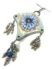 Large Handmade Ceramic Floral Beaded Pendant Necklace #2030D - Bead Dangle Design