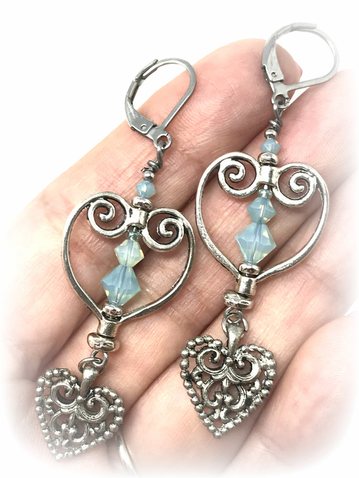 Pale Green Faceted Swarovski Crystal Filigree Heart Beaded Dangle Earrings #938E