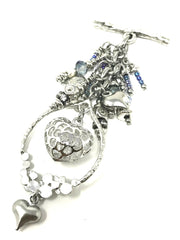 Puffed Crystal Filled Heart Beaded Pendant #2031D - Bead Dangle Design