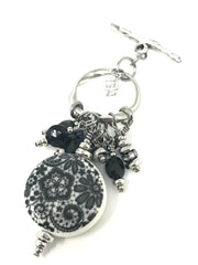 Porcelain Black and White Floral Beaded Pendant #2039D