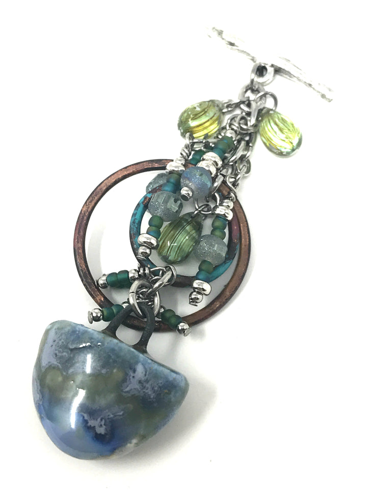 Handmade Polymer Clay and Crystal Beaded Pendant #2040D - Bead Dangle Design