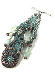 Copper Patina Ornate Beaded Pendant #2048D - Bead Dangle Design