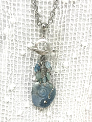 Summer Lampwork Glass and Chalcedony Beaded Pendant #2050D - Bead Dangle Design