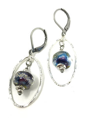 Blue and Purple Speckled Lampwork Glass Beaded Dangle Earrings #949E