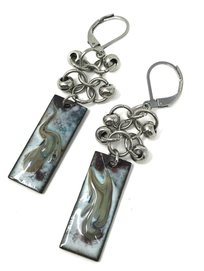 Painted Enamel Swirl Beaded Dangle Earrings #948E