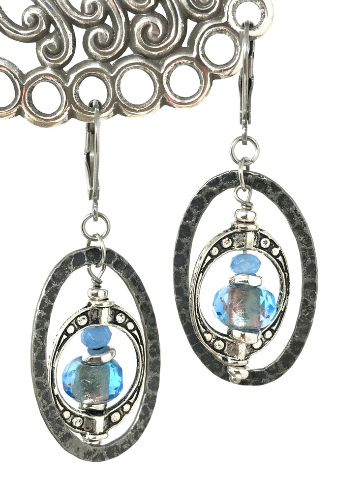 Hammered Pewter Copper and Turquoise Shimmer Beaded Dangle Earrings #945E