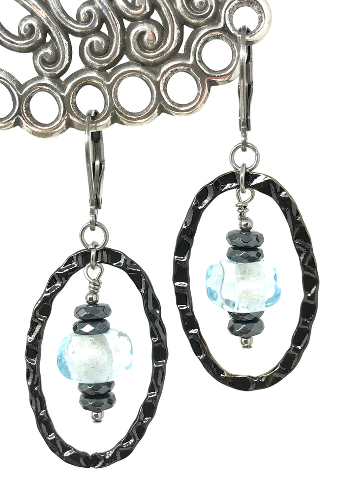 Hammered Pewter Pale Blue Lampwork Glass Beaded Dangle Earrings #943E