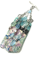 Beautiful Large Polymer Clay Pastel Swirl Beaded Pendant #2058D - Bead Dangle Design