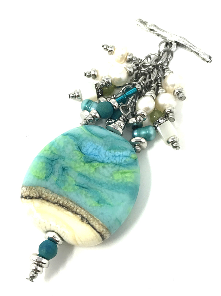 Lampwork Glass and Fresh Water Pearl Beaded Pendant #2055D