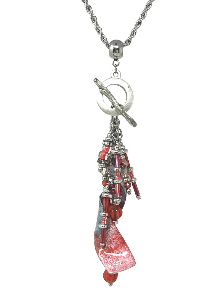 Coral Red Twisted Enamel Painted Beaded Pendant #2060D - Bead Dangle Design