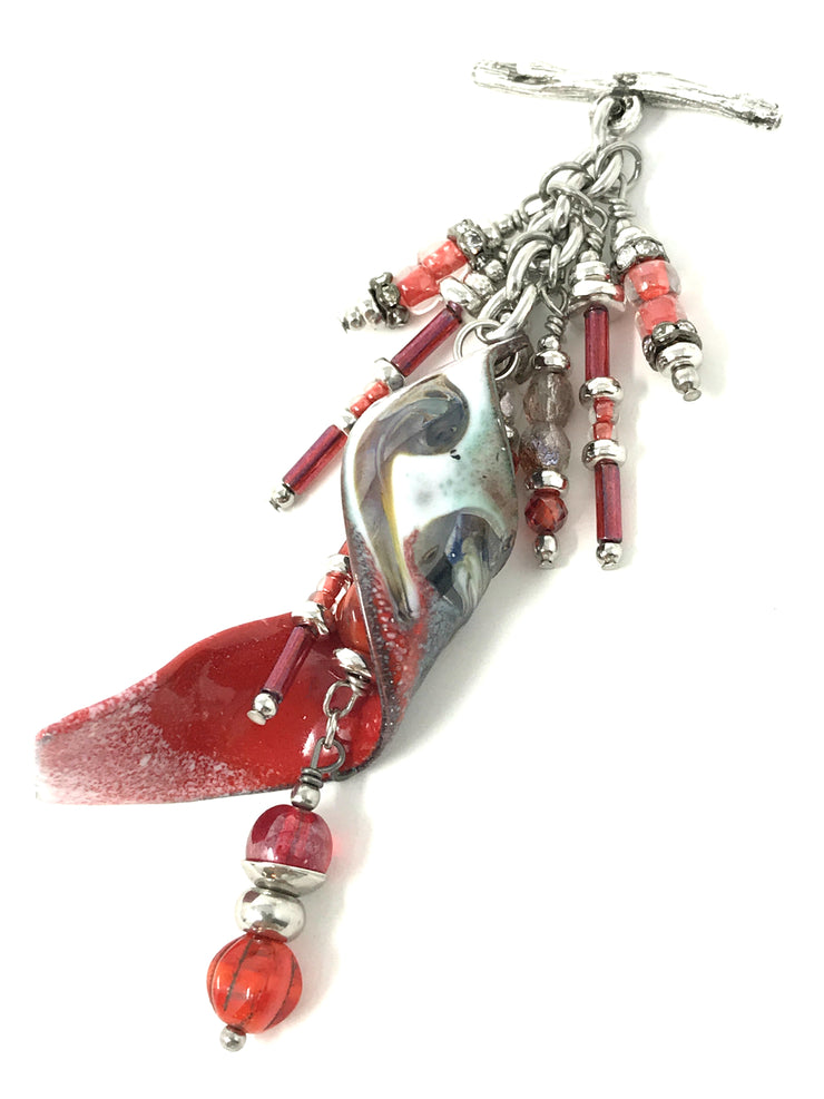 Coral Red Twisted Enamel Painted Beaded Pendant #2060D