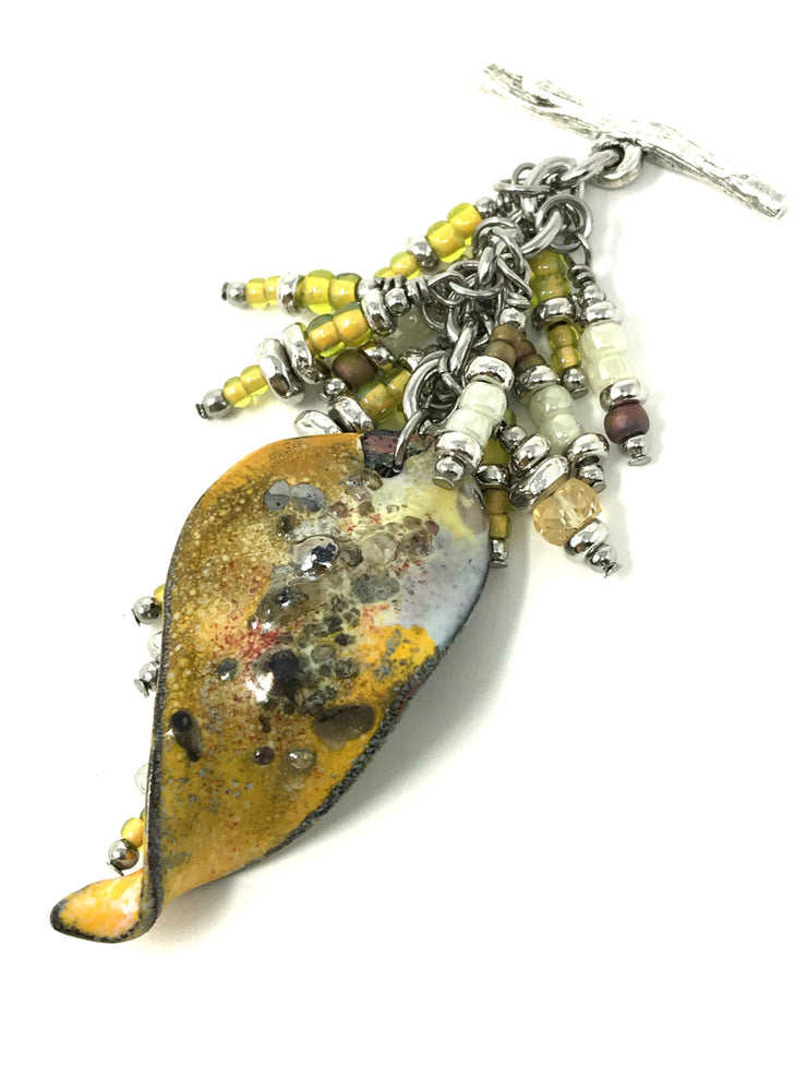 Summer Time Yellow Painted Enamel Speckled Beaded Pendant #2062D