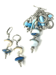 Hand Painted Floral Enamel Pale Blue Beaded Pendant #2063D - Bead Dangle Design