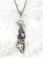 Beautiful Hand Painted Floral Enamel and Seed Bead Beaded Pendant #2065D