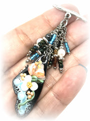 Beautiful Hand Painted Floral Enamel and Seed Bead Beaded Pendant #2065D - Bead Dangle Design